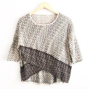 Anthro Moth Criss Criss Gray Crop Sweater M
